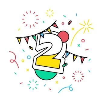 Número 2 com o banner do tema festivo.