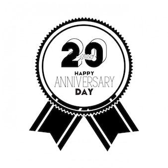 Número 20 para emblema de comemoração de aniversário ou insígnia