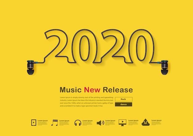 Número 2020 feito com fones de ouvido no modelo amarelo