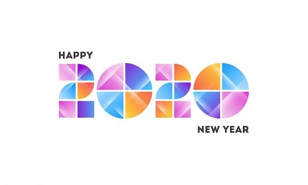 Número 2020 feito pela cor abstrata do inclinação no branco.