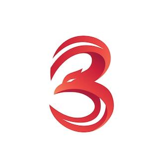 Número 3 águia forma logo vector