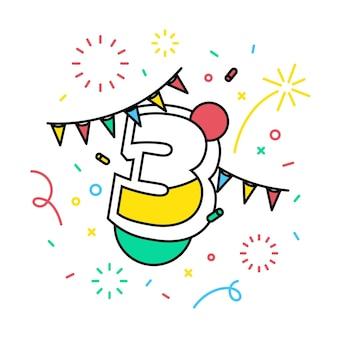 Número 3 com o banner do tema festivo.