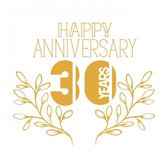 Número 30 para emblema de comemoração de aniversário ou insígnia