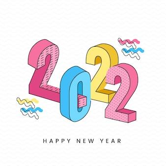 Número 3d 2022 colorido em fundo branco para a celebração do ano novo.