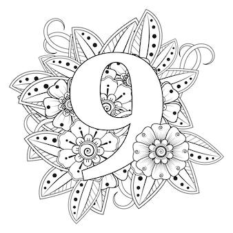 Número 9 com o ornamento decorativo de flor mehndi na página do livro para colorir de estilo oriental étnico