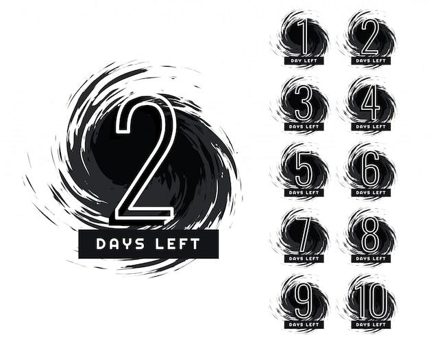 Número abstrato de dias à esquerda do rótulo grunge