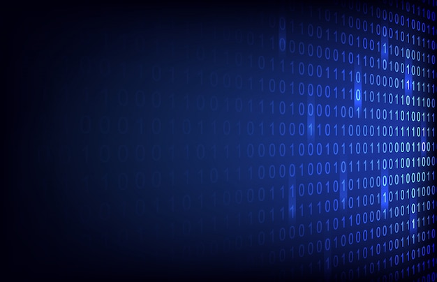 Número binário abstrato com fundo de tecnologia de circuito