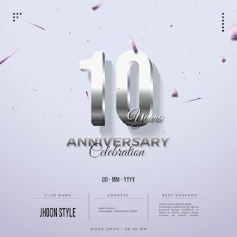 Número brilhante prateado para o 10º aniversário