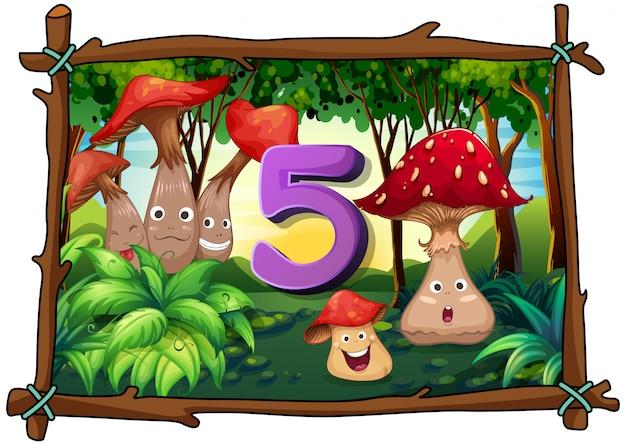 Número cinco, com cogumelos na floresta