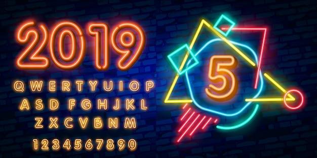 Número, cinco, símbolo, sinal néon, cinco