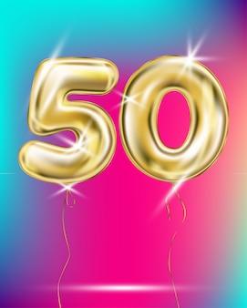 Número cinquenta balão de folha de ouro no gradiente