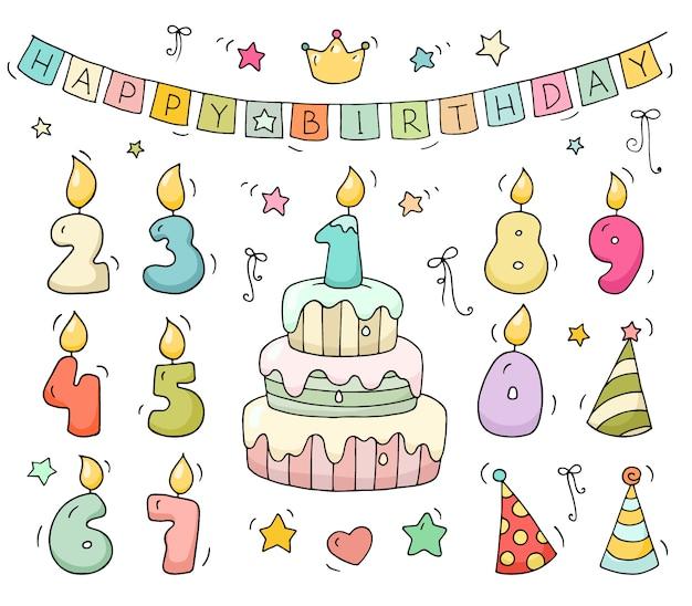 Número colorido bonito em forma de velas