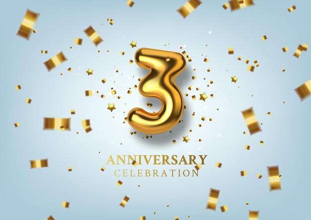 Número da celebração do 3º aniversário em forma de balões dourados.