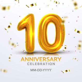 Número da celebração do nascimento do décimo aniversário