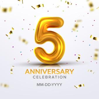 Número da celebração do nascimento do quinto aniversário