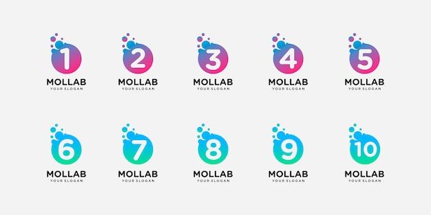 Número da coleção com modelo de logotipo de conceito de ponto e molécula.