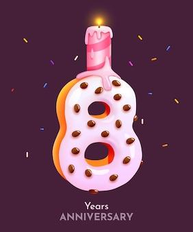 Número da fonte do bolo de aniversário oitavo