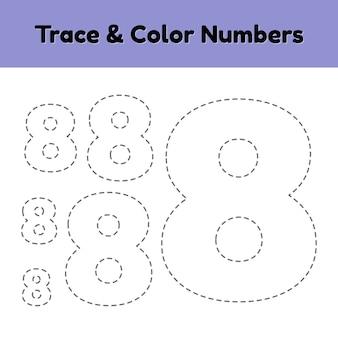 Número da linha de rastreamento para crianças do jardim de infância e pré-escola.
