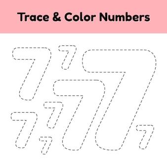 Número da linha de rastreamento para crianças do jardim de infância e pré-escola