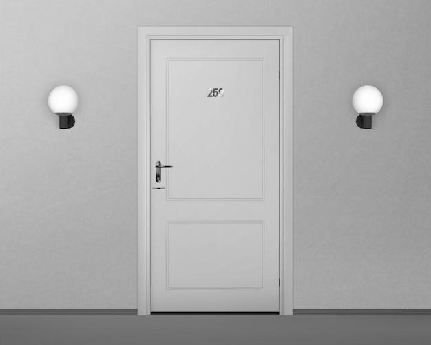 Número da porta do hotel, fim acima da imagem.