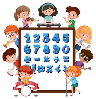 Número de 0 a 9 e símbolos matemáticos no banner com muitas crianças fazendo atividades diferentes