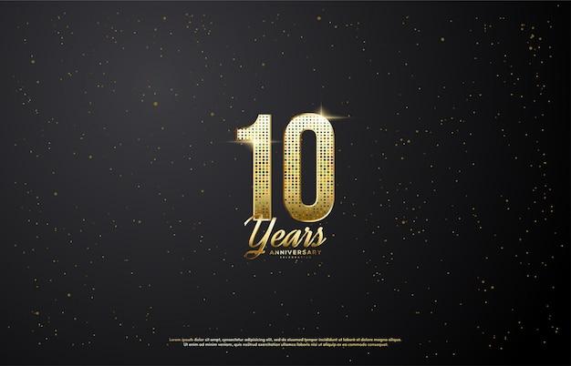 Número de comemoração de aniversário com glitter.