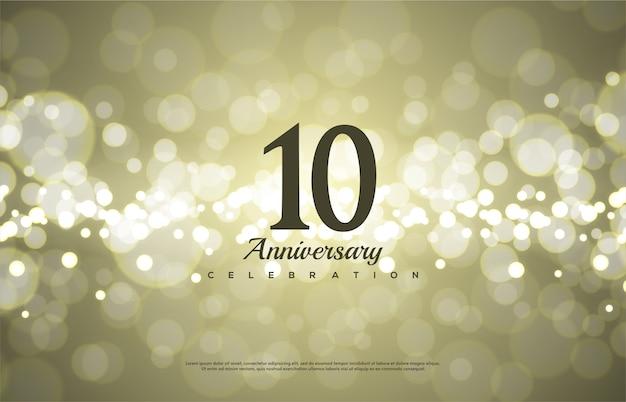 Número de comemoração de aniversário com o número 10 em preto sobre um fundo de bokeh.