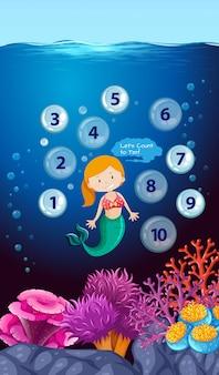 Número de contagem de sereia debaixo d'água