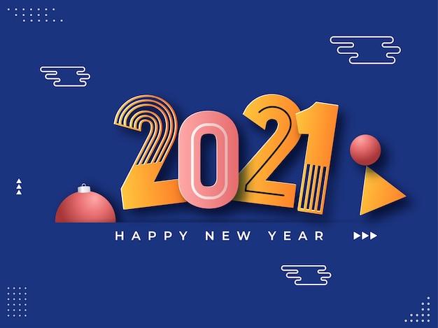 Número de corte de papel com bugiganga sobre fundo azul para feliz ano novo.