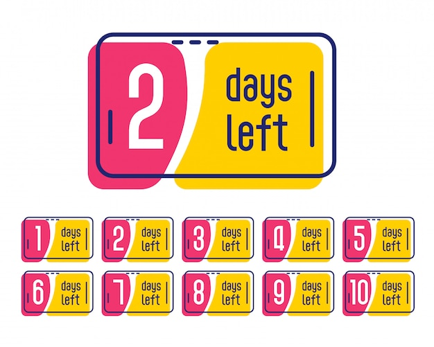 Número de dias restantes banner de etiqueta promocional