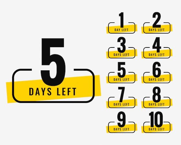 Número de dias restantes banner promocional