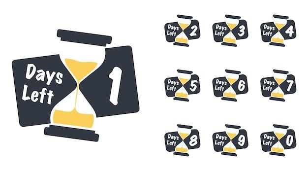 Número de dias restantes com o emblema da ampulheta do temporizador de areia ou o design de adesivo