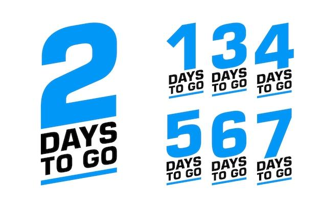 Número de dias restantes. conjunto de emblemas.