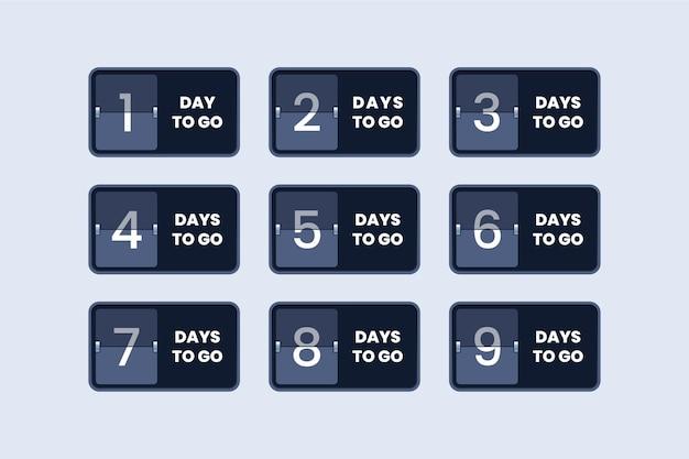 Número de dias restantes, contador regressivo, cronômetro