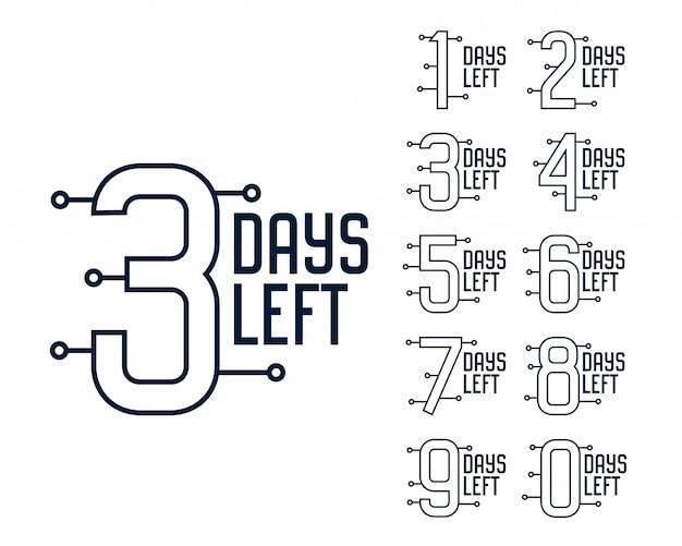 Número de dias restantes do banner do cronômetro