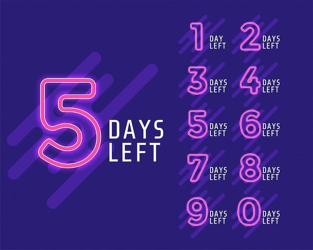 Número de dias restantes do banner