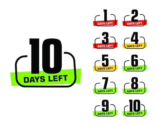 Número de dias restantes do logotipo do banner promocional