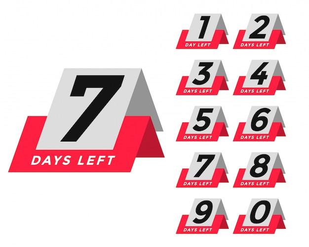 Número de dias restantes do modelo no estilo da tag