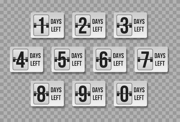 Número de dias restantes. faltavam dias para a contagem regressiva. venda de tempo de contagem