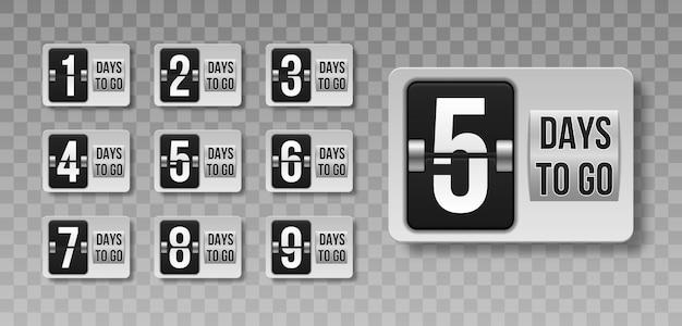 Número de dias restantes na contagem regressiva em fundo transparente