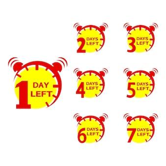 Número de dias restantes na contagem regressiva. o cronômetro da oferta promocional da oferta do preço de venda do dia começa. vetor