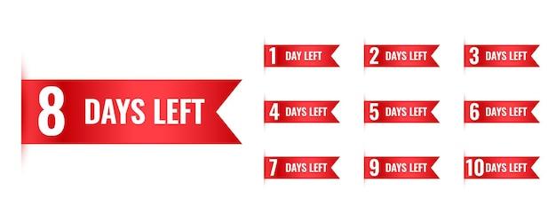 Número de dias restantes no banner de contagem regressiva em estilo de faixa de opções
