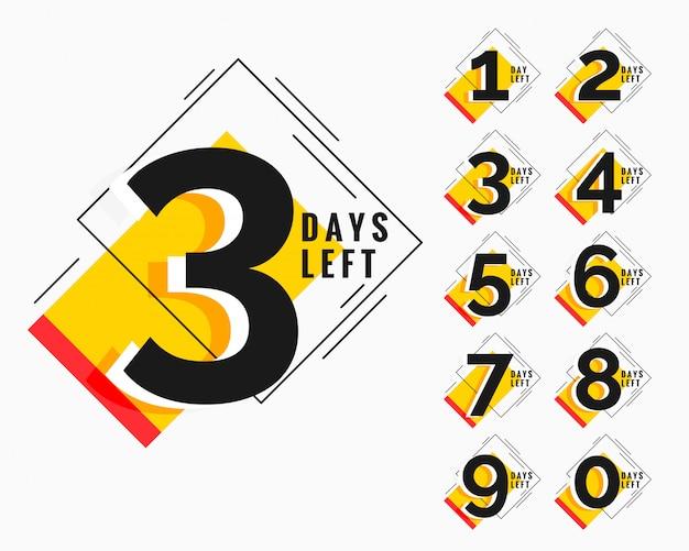 Número de dias restantes no banner moderno estilo memphis