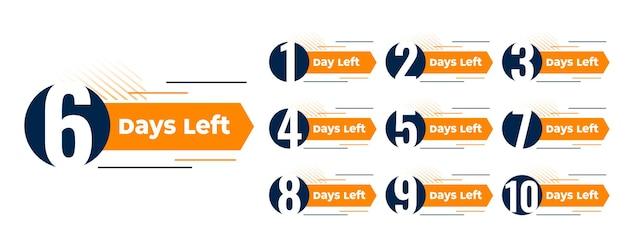 Número de dias restantes no design do banner