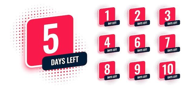 Número de dias restantes nos banners de contagem regressiva