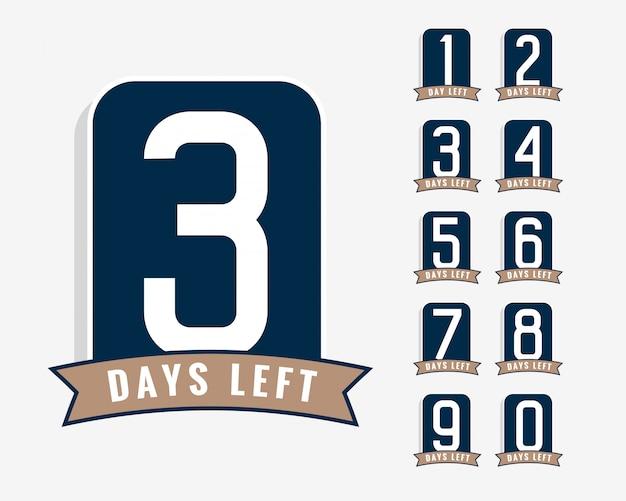 Número de dias restantes símbolos