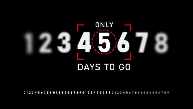Número de dias restantes sinal para venda e promoção. números brancos em um fundo preto