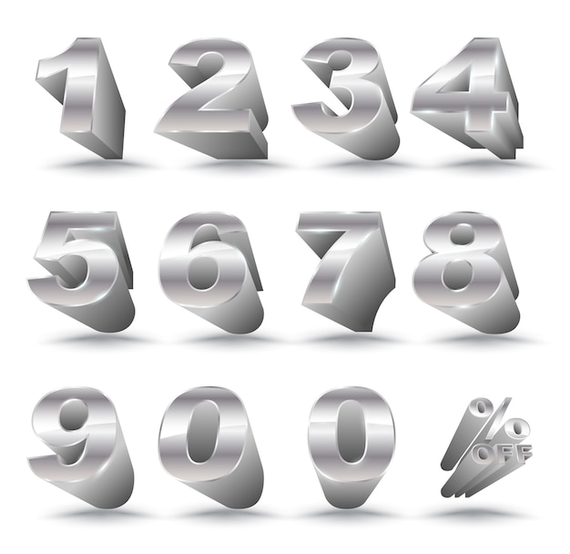Número de metal prata estilo 3d