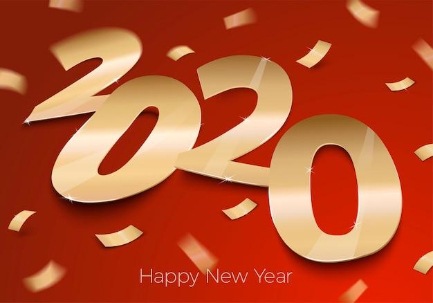 Número de papel realista brilhante folha dourada 2020 deitado na superfície vermelha