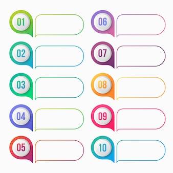 Número de ponto de bala gradiente colorido com caixa de texto